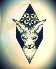 sphinx cat drawing Sketchbook Inspiration, Tattoo Inspiration, Beautiful Tattoos, Cool Tattoos, Cliche Tattoo, Sphinx Tattoo, Sphynx Cat Tattoo, Sphinx Cat, Alien Tattoo