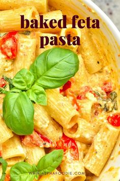 Enjoy this baked feta and cherry tomato pasta with just five ingredients & in under 30 minutes - combining the flavors of salty, flavorful feta cheese with roasted cherry tomatoes for a creamy feta cheese pasta combination to die for! Cheese Sauce For Pasta, Tomato Pasta Sauce, Feta Pasta, Cherry Tomato Pasta, Roasted Cherry Tomatoes, Oven Dishes, Pasta Dishes, Pasta Recipes, Dinner Recipes