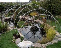 How to build a winter pond cover. This simple structure is an easy way to protect your koi and goldfish from extreme winter temperatures. Outdoor Ponds, Ponds Backyard, Garden Ponds, Bog Garden, Koi Fish Pond, Fish Ponds, Champs, Pond Algae, Pond Covers