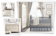 Restoration Hardware Boy Nursery - iron crib/blue bedding.