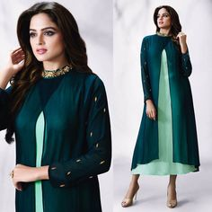 Long Kurti:with jacket - with mandarin collar neckline and full sleeves …call us to get similar piece made for you. www.fabdarzi.com