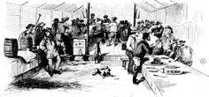Interior of John Alloo's Restaurant, Ballarat 1855