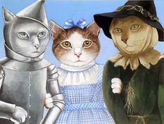 Follow the yellow brick Road with Dorothy Kitty, Tin Cat & ScareCat, Movie Wizard of Oz.