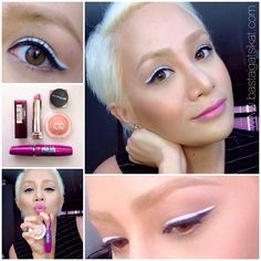MAYBELLINE Falsies for that wide awake look, Cheeky Glow in peachy scene for a subtle flush, ColorSensational lipstick in Make Me Pink, and Eye Studio 36h lasting gel liner in black