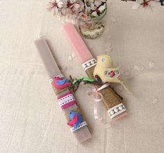 Scented Easter candles decorated with hand sewn felt birds by La Boutique de Fleurs
