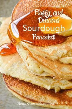 These light and fluffy sourdough pancakes are so delicious and easy to make. The main batter is made in advance and uses up your sourdough starter discard. Pancakes Nutella, Sourdough Pancakes, Sourdough Recipes, Waffles, Breakfast Dishes, Breakfast Recipes, Pancakes Weight Watchers, Pate A Pancake, Sourdough Starter Discard Recipe