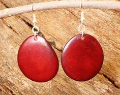 Dark Red Earrings of Tagua Nut, Bold Chunky Earrings, Eco Earrings, Fair Trade Jewelry, Red Bead Earrings, Tagua Nut Jewelry  3201