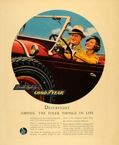1935 Ad Good Year Tires Double Eagle Car Rubber Art - ORIGINAL ADVERTISING F3A
