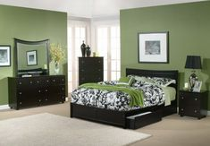 Modern Green Bedroom with Black Furniture Picture