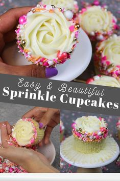 Learn how to take your cupcakes to the next level This easy and beautiful buttercream rosette design is made with a Wilton frosting tip and a fancy sprinkle blend It s sure to impress cupcakes sprinklecupcakes cupcakedecoration cupcakedecorationideas Cupcakes Design, Fancy Cupcakes, Sprinkle Cupcakes, Cake Designs, Pretty Cupcakes, Cupcake Icing Designs, Valentine Cupcakes, Floral Cupcakes, Heart Cupcakes
