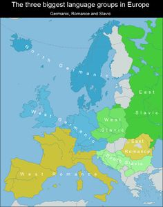 Europe: A map of the Germanic, Romance, and Slavic language groups European Languages, World Languages, Religion, Country Maps, Alternate History, Old Maps, Historical Art, City Maps, European History