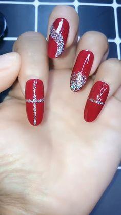 Cross red Nail Art Video, 15 Easy and Amazing Nail Art Designs for Beginners Cross red Nail Art Video, 15 Easy and Amazing Nail Art Designs for Beginners Valentine's Day Nail Designs, Christmas Nail Art Designs, Winter Nail Designs, Simple Nail Designs, Nails Design, Xmas Nails, Holiday Nails, Red Nails, Christmas Nails