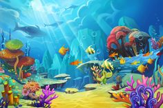 Underwater World Photography Backdrop Aquarium Party Backdrop for Pictures Celebrate Photo Booth Background. Underwater Painting, Underwater World, Mural Painting, Underwater Background, Fish Background, Backdrop Background, Bg Design, Under The Sea Theme, Canvas Paintings