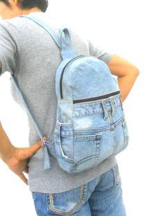LEVIS jeans mochila denim reciclado jean bolsa mochila mochila by Avivahandmade Backpack With Pins, Jean Backpack, Hipster Backpack, Backpack Bags, Levis Jeans, Mochila Jeans, Men Fashion Photo, Lee Denim, Denim Ideas