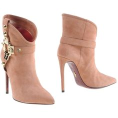 Cesare Paciotti Ankle Boots ($395) ❤ liked on Polyvore featuring shoes, boots, ankle booties, ankle boots, booties, pastel pink, studded booties, leather ankle boots, stiletto booties and pink stilettos