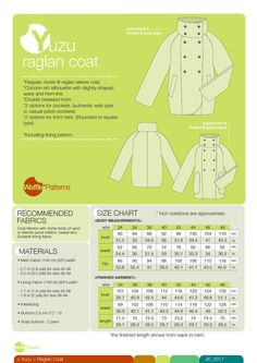 Waffle Patterns pdf sewing patterns Raglan Coat Yuzu