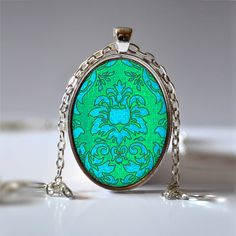 Damask Pendant Green and Turquoise Necklace Damask by Jaylos, $8.00