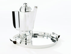 Silver Style cocktail shaker and tray designed by Kem Weber #cocktailCulture