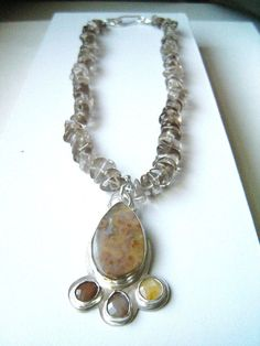 Necklace Smokey Quartz Beads with Ocean Jasper and by JudyB, $315.00