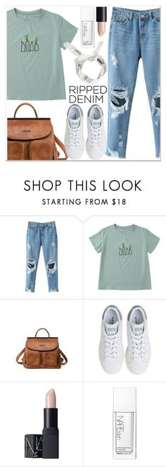 """""""Ripped"""" by mycherryblossom ❤ liked on Polyvore featuring adidas, NARS Cosmetics and Boohoo"""