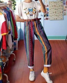 Women's Fashion Multicolor Striped Straight Pants - Women's Fashion Multicolor Striped Straight Pants – Fofront - Hippie Outfits, Retro Outfits, Vintage Outfits, Casual Outfits, Cute Outfits, Vintage Clothing, 80s Style Clothing, Hipster Clothing, Girl Outfits