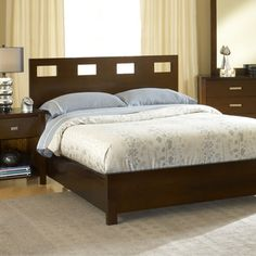 Chocolate Brown Rectangular Cutout Modern Platform Bed