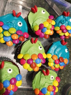 Fish cupcakes for an Under the Sea themed birthday party