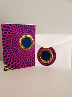 Genuine African wax fabric card & matching envelope (purple,yellow,blue)