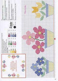 Gallery.ru / Фото #96 - R*I*C*O* 1 - mila29 Free Cross Stitch Patterns Three Pots of Flowers - Pink Flowers / Blue Flower / Yellow Flowers