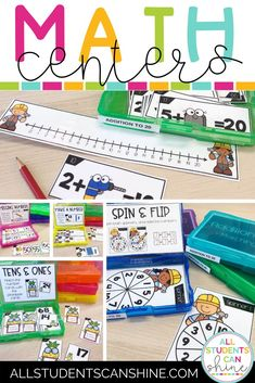 These easy math centers make great math games for first grade and kindergarten students. They are low prep, address first grade math concepts, and are a great addition to kindergarten math center rotations, or first grade math stations. #mathcenters #kindergartenmath #firstgrademath Fun Classroom Activities, Kindergarten Math Activities, Math Resources, Classroom Ideas, Easy Math, Simple Math, Math Center Rotations, Math Centers, Homework Games