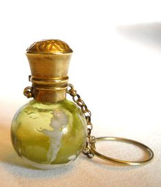 Antique Mary Gregory Olive Green Chatelaine Scent Perfume Bottle