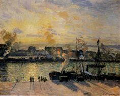 Camille Pissarro「Sunset, The Port of Rouen(Steamboats)」(1898)