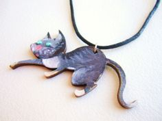 Wooden Cat Necklace  Hand Painted Wood Pendant with by GattyGatty, $12.50