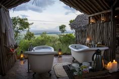 """Kenya's Kilima Camp will have you completely rethinking the term """"grass hut"""" in no time. If a safari has been calling your name, this African luxury camping spot is romantic, rustic, and completely magical. Set along the west"""