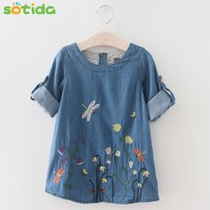 5ddb67995262a Fashion Baby Girls Denim Dress 2018 Children Clothing Autumn Casual Style  Girls clothes Butterfly Embroidery Dress Kids Clothes-in Dresses from  Mother ...