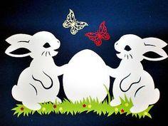 * 2 Hasen mit Ei* Fensterbild aus Tonkarton, Frühling, Handarbeit