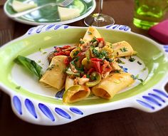 Paccheri with Grouper fish capers, olives and pepper