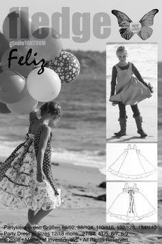Mehrgrößenschnittmuster, Größen: 86/92, 98/104, 110/116, 122/128, 134/140 Alle Größen sind auf dem Schnittmusterbogen abgebildet.Feliz – Das Kleid für fröhliche MädchenToll als Einschulungskleid!FELIZ bedeutet fröhlich auf...