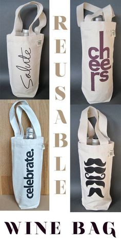Ideas for diy fashion bags design Wine Tote, Bottle Bag, Wine Bottle Crafts, Wine Gifts, Gift Bags, Fashion Bags, Cricut, Pink Champagne, Reuse