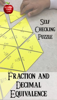 Practice finding decimal and fraction equivalence math center activity.  #fractions #decimals #fourthgrade