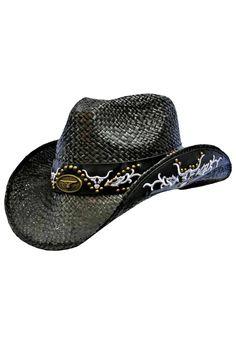 77893a11271 Cowboy Hat With Longhorn Tribal Trim Hatband Black Cowgirl