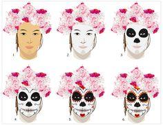 toutes les étapes pour réaliser un maquillage dia de los muertos
