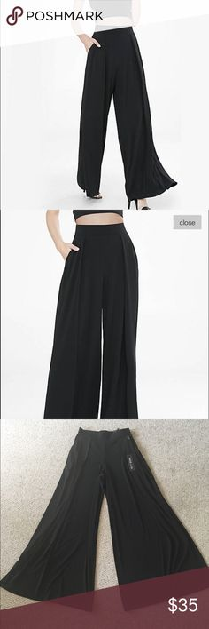 """High Waisted Wide Leg Pleated Pant A fixture of feminine fashion for ages, this pleated wide leg pant has a flattering high waist for the modern girl who aims for classic status. Add a Portofino shirt for nine-to-five style or a strappy cami for cocktail hour.  Banded elastic waist, slip-on styling Two front pleats Extra wide leg 32"""" inseam Polyester/Spandex Machine wash Imported Express Pants Wide Leg"""