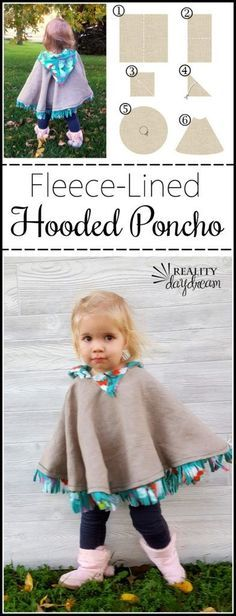 This fleece-lined hooded poncho can be a jacket or even winter coat for the toddler in your life. Click through for the tutorial! {Reality Daydream}