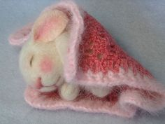 Needle Felted Doll Rosebud a needle felted bunny I made. by feltedmice, via Flickr