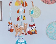 Forest Animals Baby Mobile - Fox, Owls and Deer - Personalized - Handmade - Made to Order