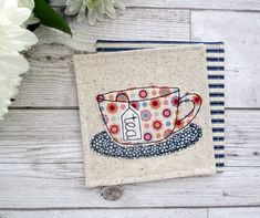 Items similar to Fabric Coaster, Tea Lover Gift, Housewarming Gift For Her on Etsy Tea Coaster, Fabric Coasters, Free Motion Embroidery, Fabric Gifts, Coordinating Fabrics, Mug Rugs, Corporate Gifts, Bodo, House Warming