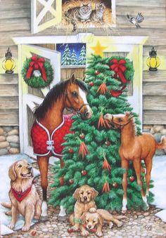 Kathy Goff Horses Foal Mare Barn Door Cat Dog Christmas Tree Greeting Card