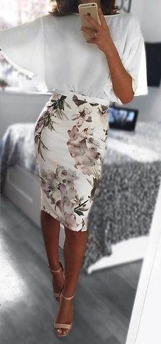 white blouse. floral midi pencil skirt.