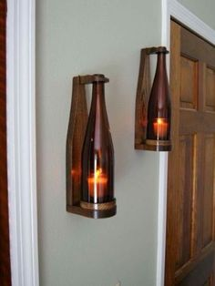 Wine bottle candles - Our sconces are truly unique and make a perfect gift for wine lovers Wine Bottle Candles, Bottle Lights, Wine Bottle Crafts, Wine Bottles, Diy Casa, Bois Diy, Candle Wall Sconces, Deco Design, Diy Home Decor